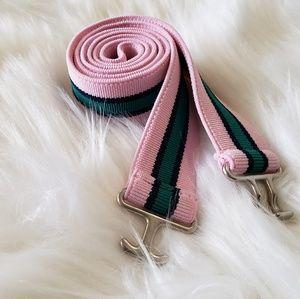 3/$20 Pink/Green Elastic Striped Belt